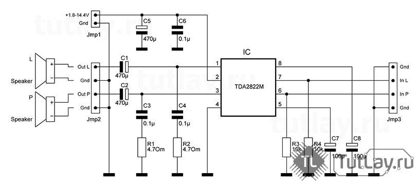 Схема усилитель tda2822