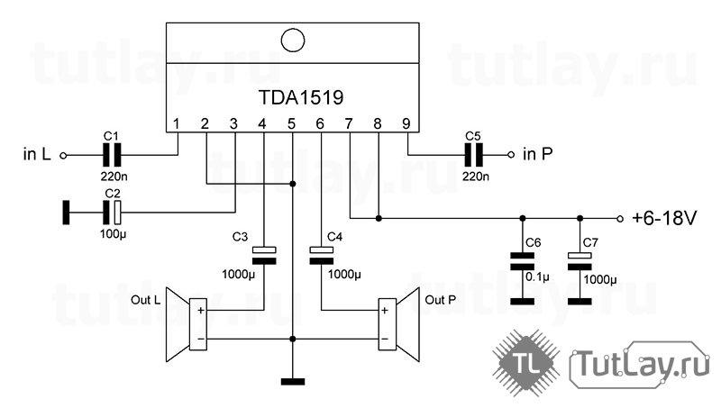 Усилитель на TDA1519 2x6Вт