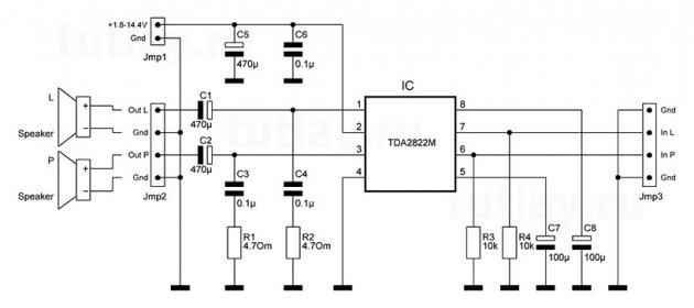 Усилитель на TDA2822M 2x1Вт