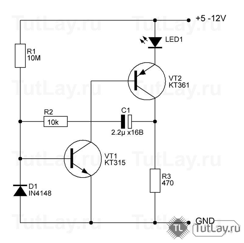 Простая схема для мигания одного светодиода