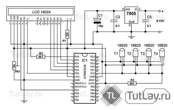 Термометр на ATMega8 и 2-4