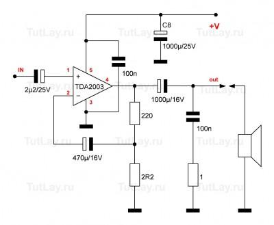 Cхема усилителя на TDA2003